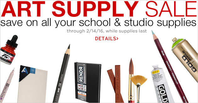 Art Supply Sale thruough February 14, 2016