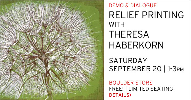 Relief Printing with Theresa Haberkorn, Boulder, Saturday, September 20, 1-3pm