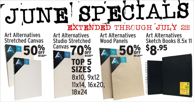 June Specials: Art Alternatives Stretched Canvas, Wood Panels and Sketchbooks through June 30