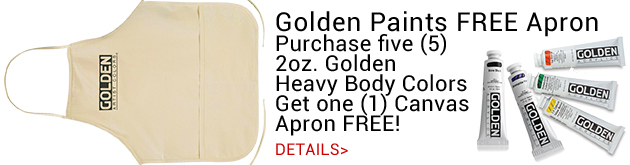 Buy 5 2oz. Golden Heavy Body Acrylic Get 1 Canvas Apron FREEn