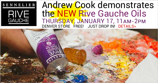 NEW Sennelier Rive Gauche Oils demo with Andrew Cook, Thursday, January 17, 11am-2pm, Denver store, just drop in!