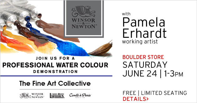 Winsor & Newton Watercolor + Paper Demo with Pam Erhardt, Saturday, June 24, 1-3pm, BOULDER STORE
