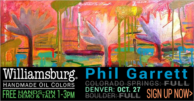 Williamsburg Oil Paints, Talk and Hands-on Demo, FREE, Register NOW, all stores, October 26-28